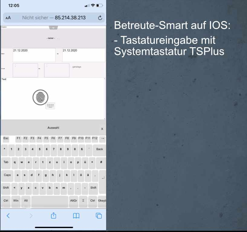 Betreute-Smart - Ansicht mit Tastatur TSPlus