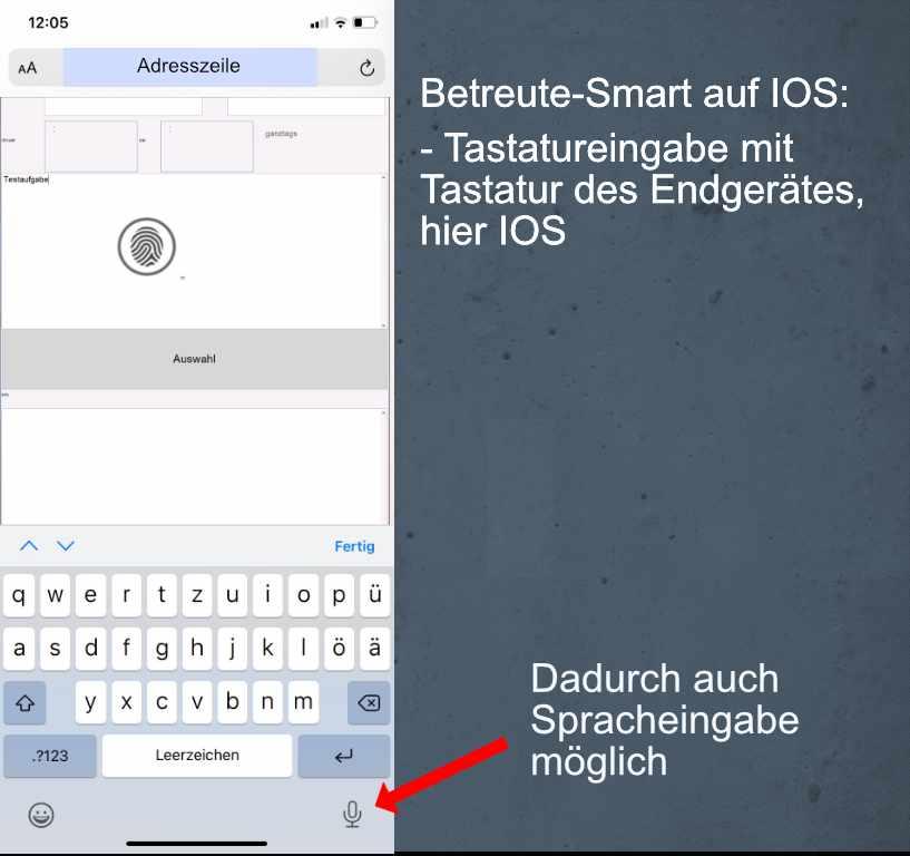 Betreute-Smart - Ansicht mit IOS Tastatur - Spracheingabe möglich